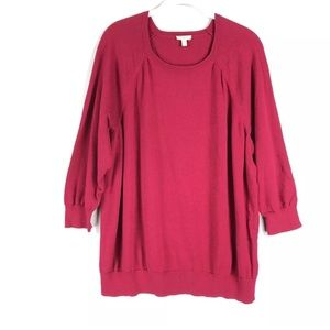 Talbots Pink Sweater Plus Size Banded Hems